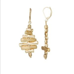 Gold Tone Leverback Drop Earrings